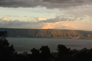 stormy sunrise over the sea of galilee